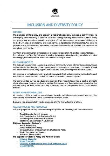 Inclusion and Diversity Policy