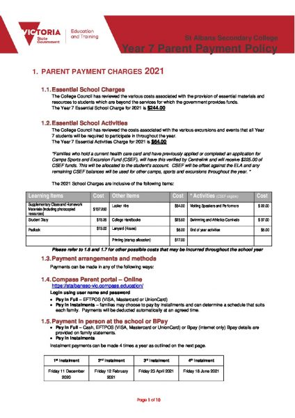 Parent Payment Policy - Year 07 2021