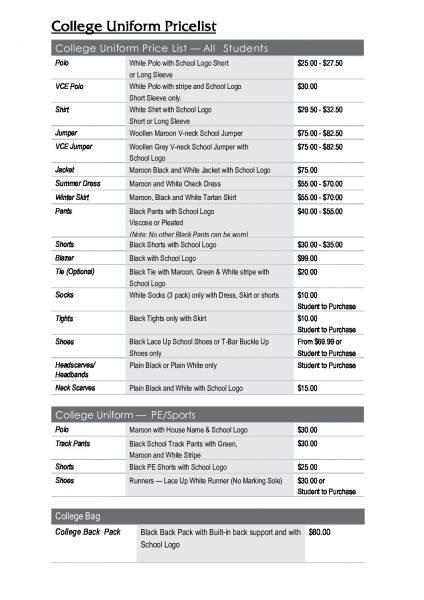 Uniform Price List