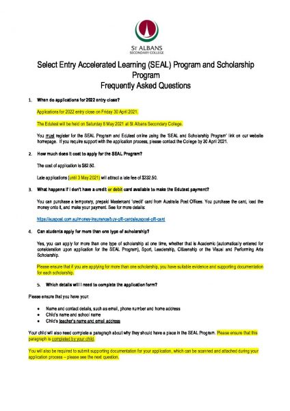 SEAL and Scholarship FAQs 2021