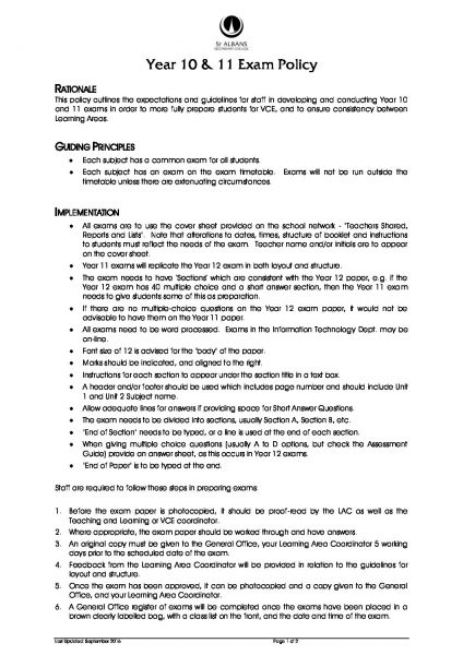 Year 10 & 11 Exam Policy